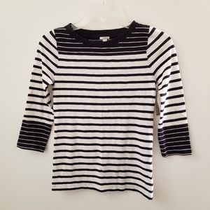 J. Crew Striped Top Size XXS Navy Blue White NWT.